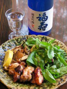 丹波地鶏の塩焼き(きのこ添え)・純米吟醸01as