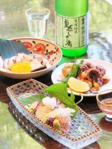 明石蛸の湯引き・明石蛸の燻製・明石蛸の唐揚げ・夏越しの酒01b